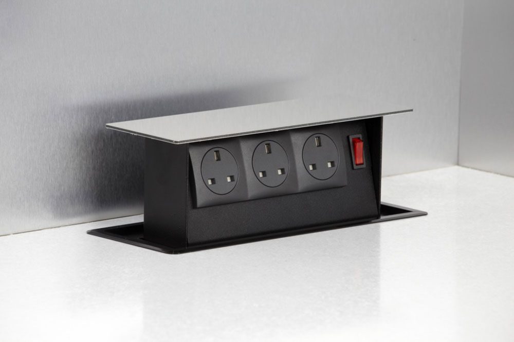 Pop Up Kitchen Power Point With Three 3 Pin Socket Points By S Box