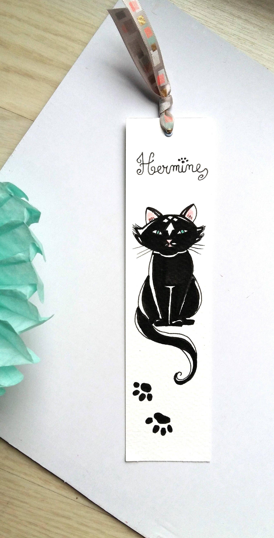 Marque Pages Chat Noir Hermine Papier Et Peinture Aquarelle