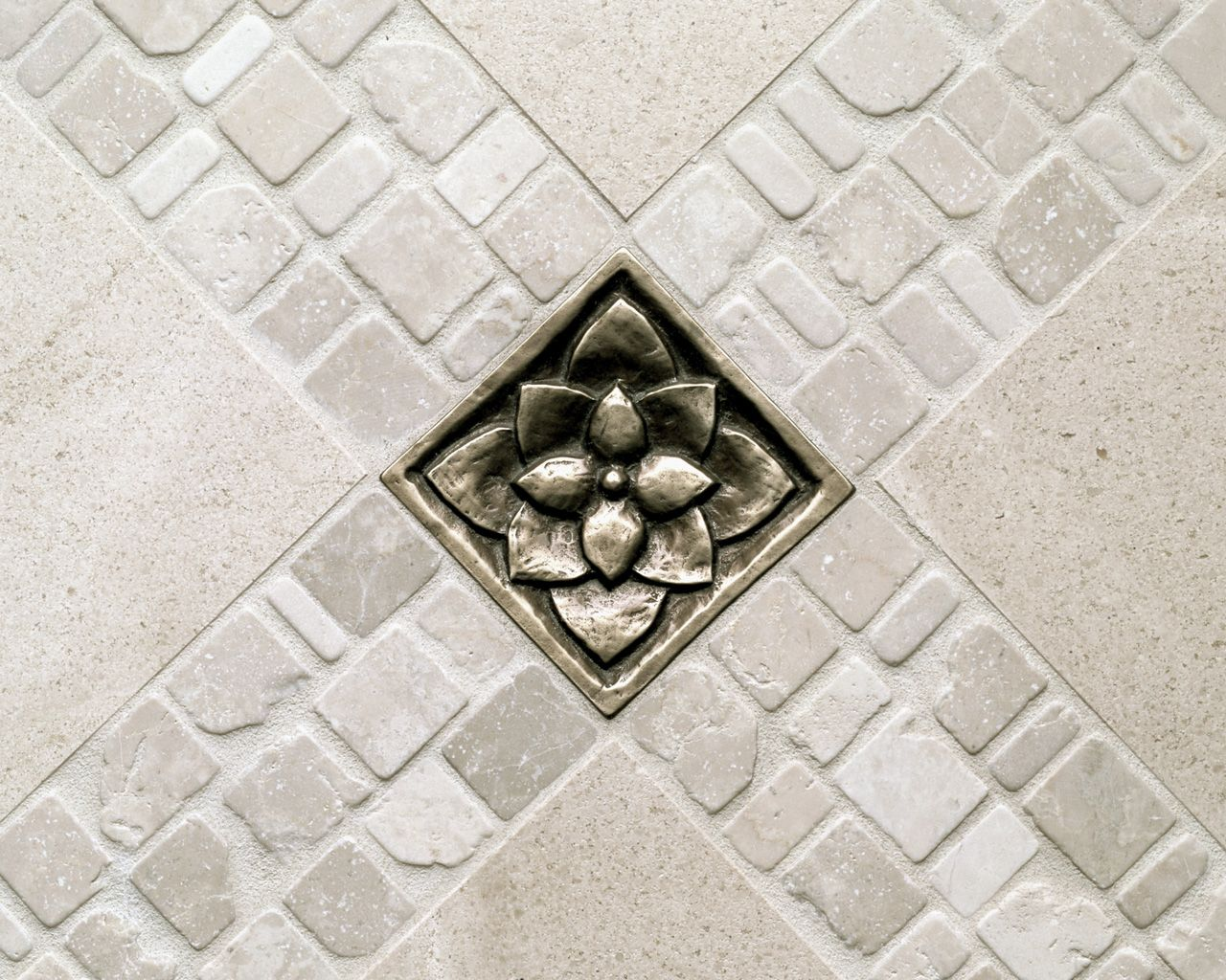 Traditional bronze tile accent inset white stone floor lotus traditional bronze tile accent inset white stone floor lotus dailygadgetfo Gallery