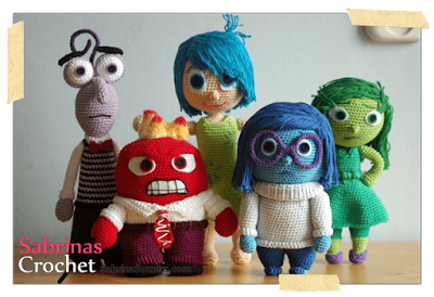 Inside Out Crochet patterns: All the emotions together. This is also the link to the free patterns.     ༺✿ƬⱤღ✿༻