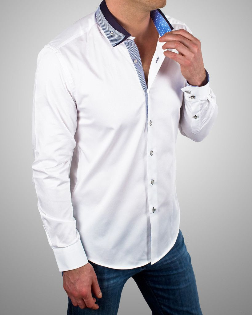 white designer shirt unique reverse collar shirt for men