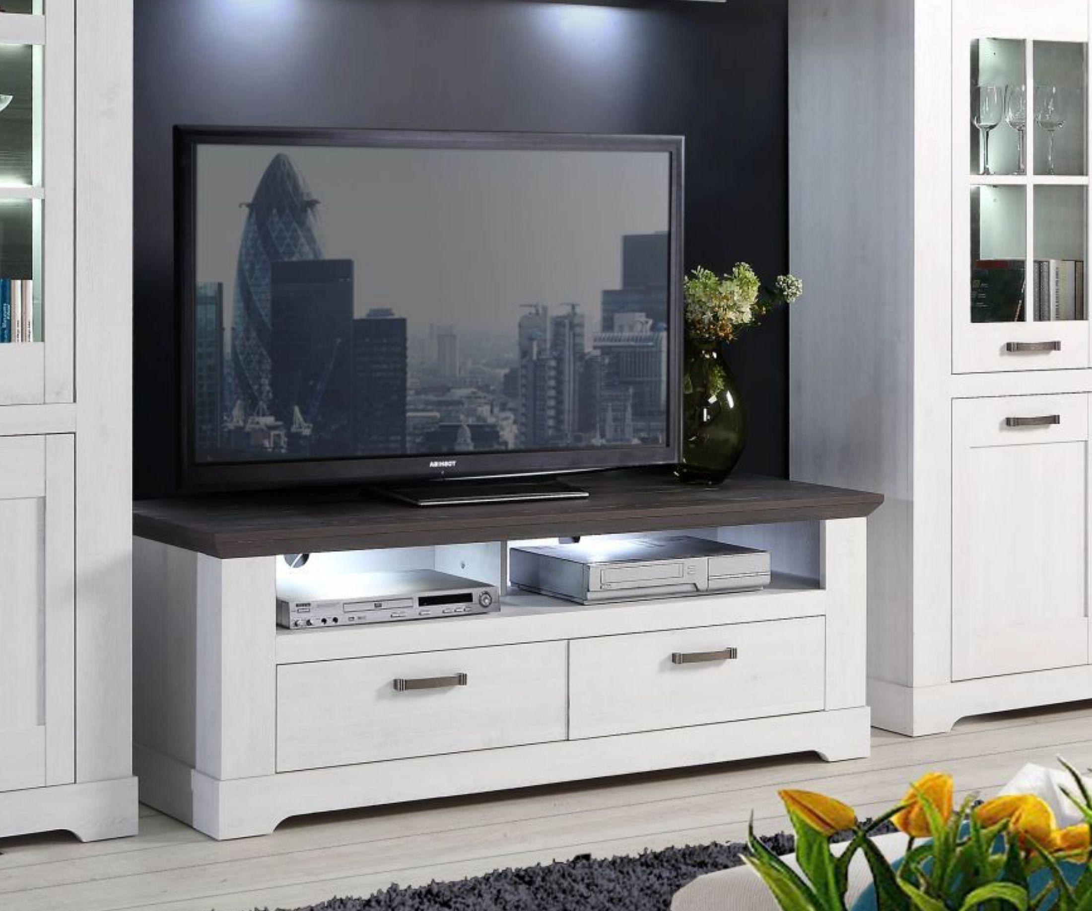 Tv-unterschrank Schneeeiche / Pinie Grau Woody 77-00974 Weiss Holz ...