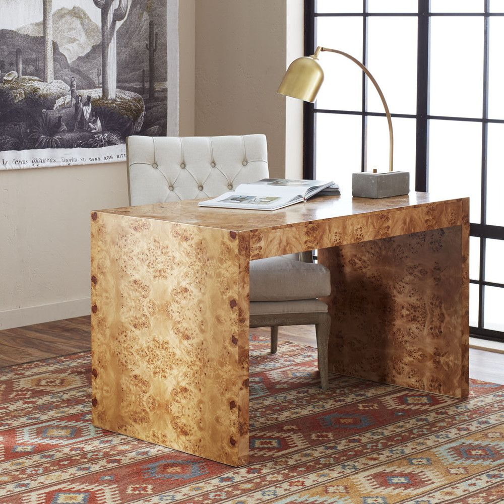 Oslo Burl Wood Veneer Desk Office Workspace Library