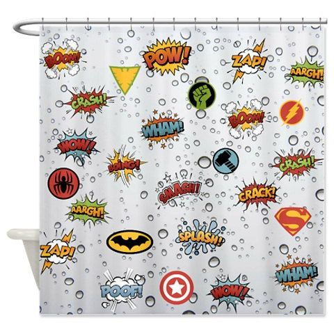 Shower Curtain Comic Book Design Super Hero By FolkandFunky