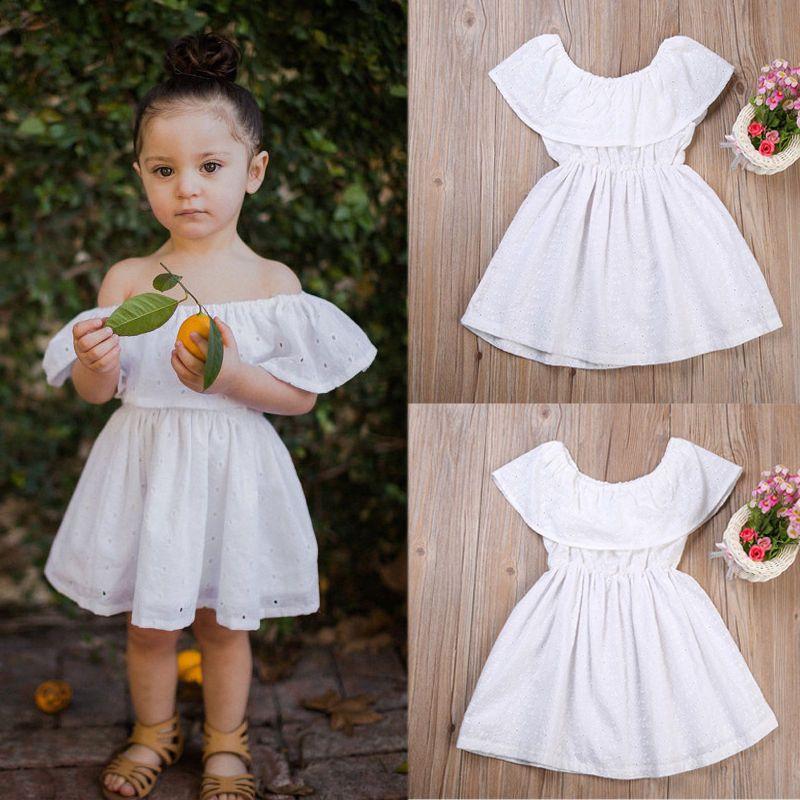2e8cdb07f9fa 2017 Summer Newborn Baby Girls Kids Dress Off-shoulder Elegant Girl White  Wedding Princess Party Formal Dresses  Affiliate