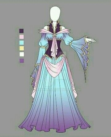 Old Fashioned Royal Ball Dress Anime Outfits Fashion Drawing
