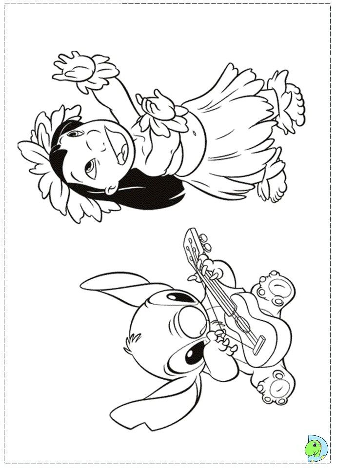 Coloring LILO DANCING HULA | Disney Lilo & Stitch Coloring Pages ... | 960x691