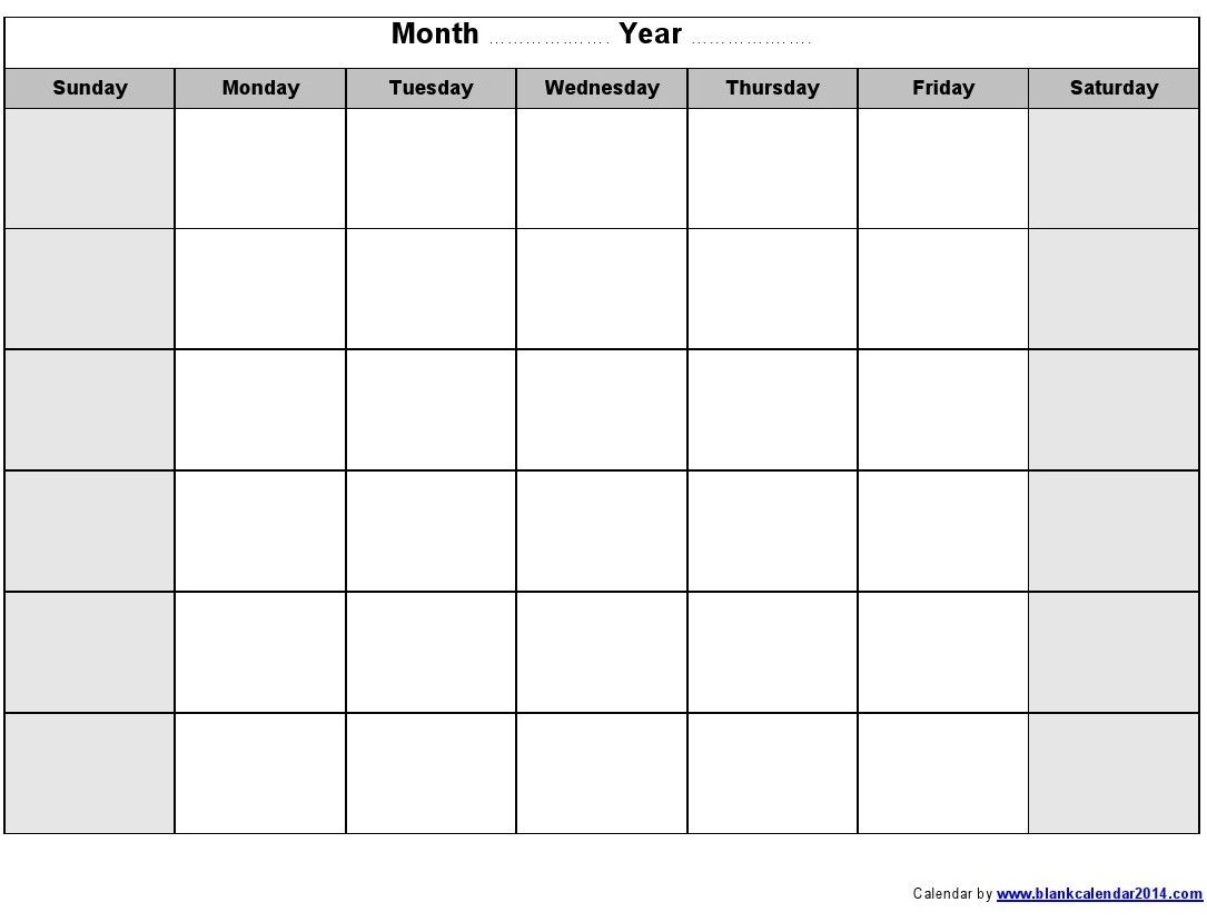 PRINTABLE CALENDARS Printable Monthly Blank Calendar – Printable Monthly Calendars