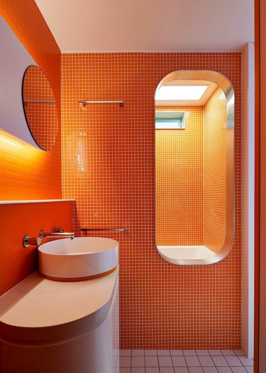 Minimalist Living Space Inspired By The Japanese Nakagin Capsule Orange Bathrooms Orange Bathrooms Designs Orange Tiles