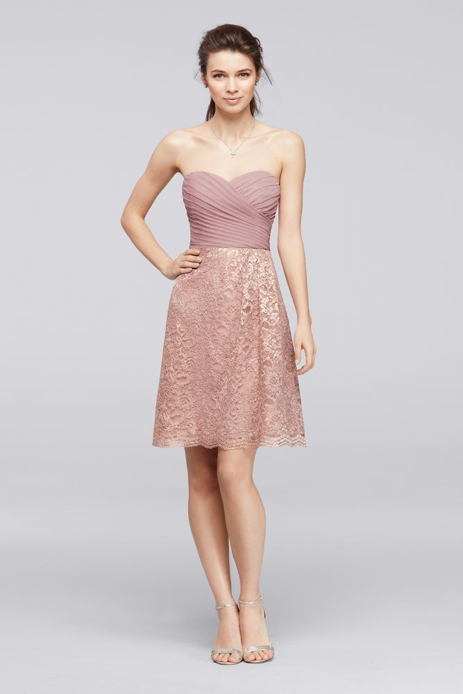 Short Metallic Lace Bridesmaid Dress With Pleating Rose Gold