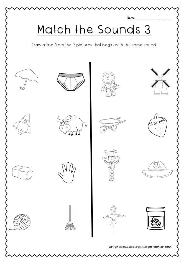 Match the beginning sounds. This is part of Beginning Sounds packet. kindergarten