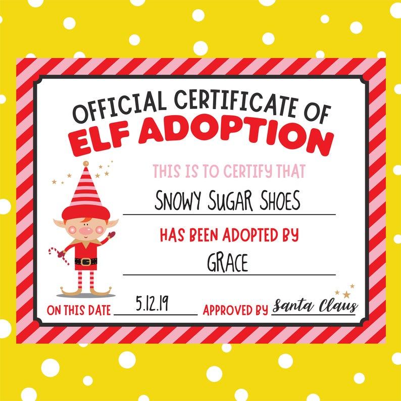 EDITABLE Elf Adoption Pink Printable Download Santa