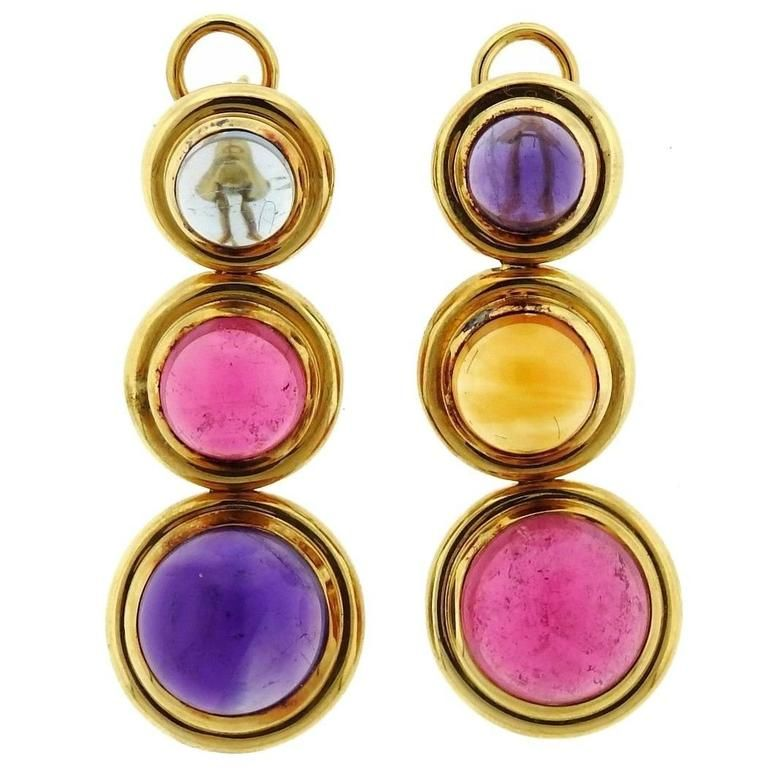 c0a819db8 Tiffany and Co. Paloma Picasso Gold Gemstone Cabochon Drop Earrings ...