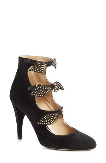 Free shipping and returns on Chloé Mike Pump (Women) at Nordstrom.com. Pre-order this style today! Add to Shopping Bag to view approximate ship date. You'll be charged only when your item ships.Studded bows add flourish and gleam to a showstopping almond-toe pump styled with laddered straps and a slim tapered heel.