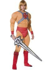 Wig He-Man Masters of Universe Superhero Fancy Dress Costume 80s Adult Outfit