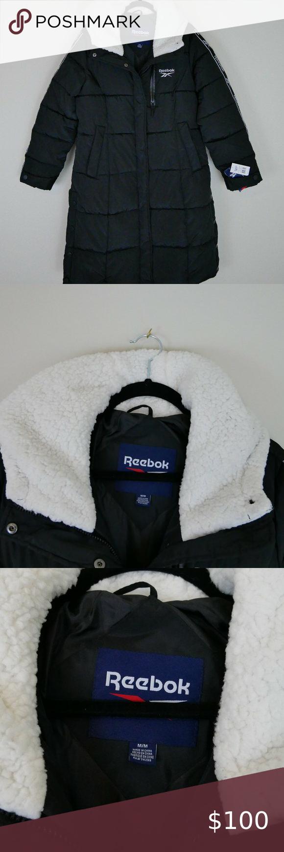 Nwt Reebok Womens Full Length Puffer Coat Puffer Jacket Women Puffer Coat Coats Jackets Women [ 1740 x 580 Pixel ]