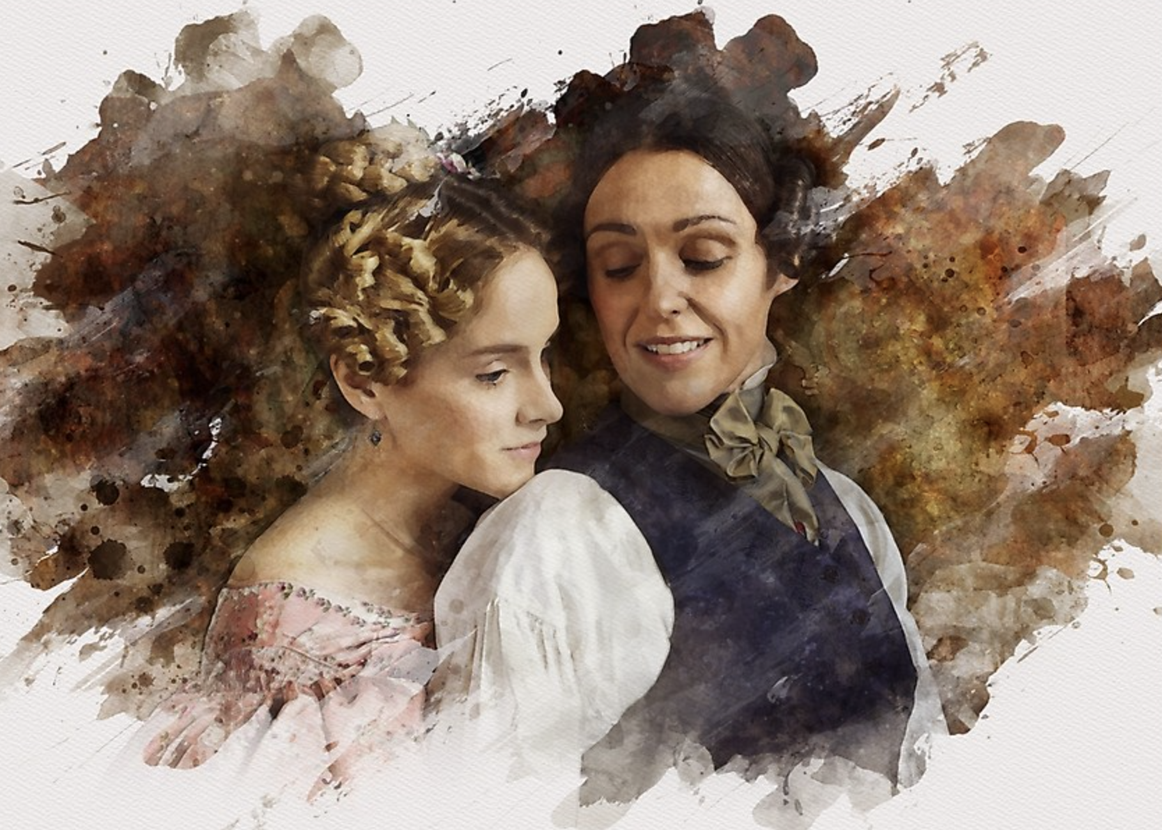 Digital rendering of Anne Lister and Ann Walker with