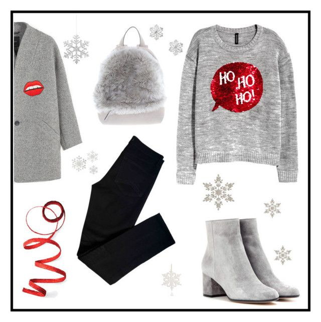 """""""xmasgrey"""" by moumantai13 ❤ liked on Polyvore featuring J Brand, Gianvito Rossi, MANGO, Brunello Cucinelli, Happy Embellishments, Shishi, Frontgate, Talbots and Heart of Haiti"""