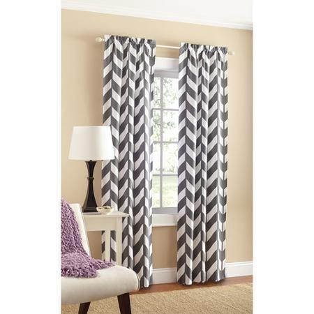 Mainstays Chevron Polyester Cotton Curtain Panel Pair Walmart Com Chevron Curtains Panel Curtains Grey Chevron Curtains