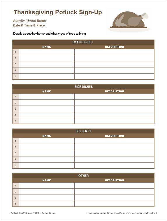 Download The Thanksgiving Potluck Sign Up Sheet From Vertex42 Com