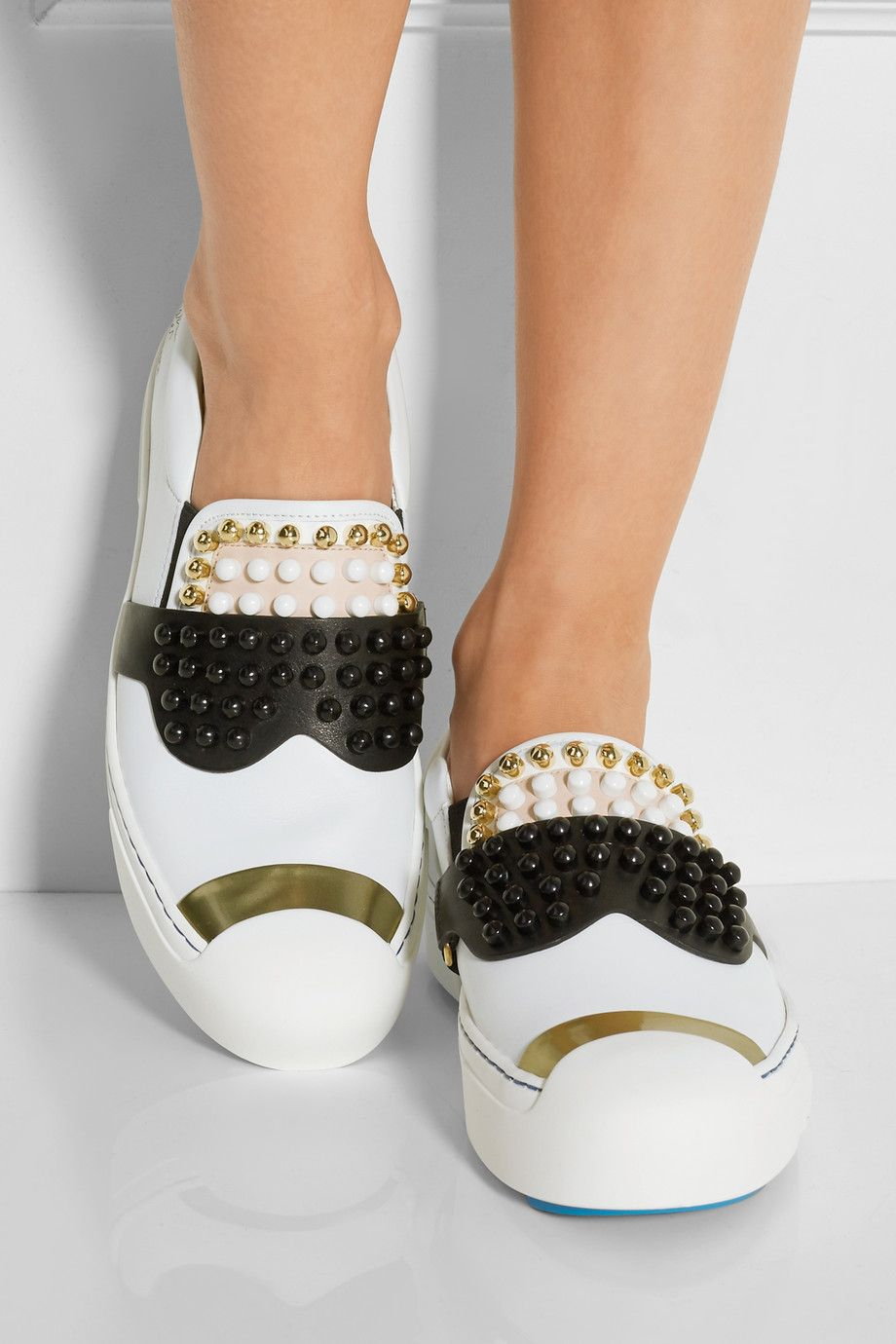 8f18245bf2ec Fendi   Karlito studded leather sneakers   NET-A-PORTER.COM   Things ...