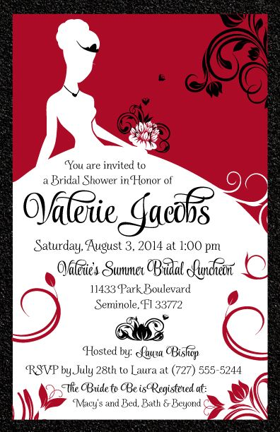 Elegant Red And Black Bridal Shower Invitation Bridal Shower