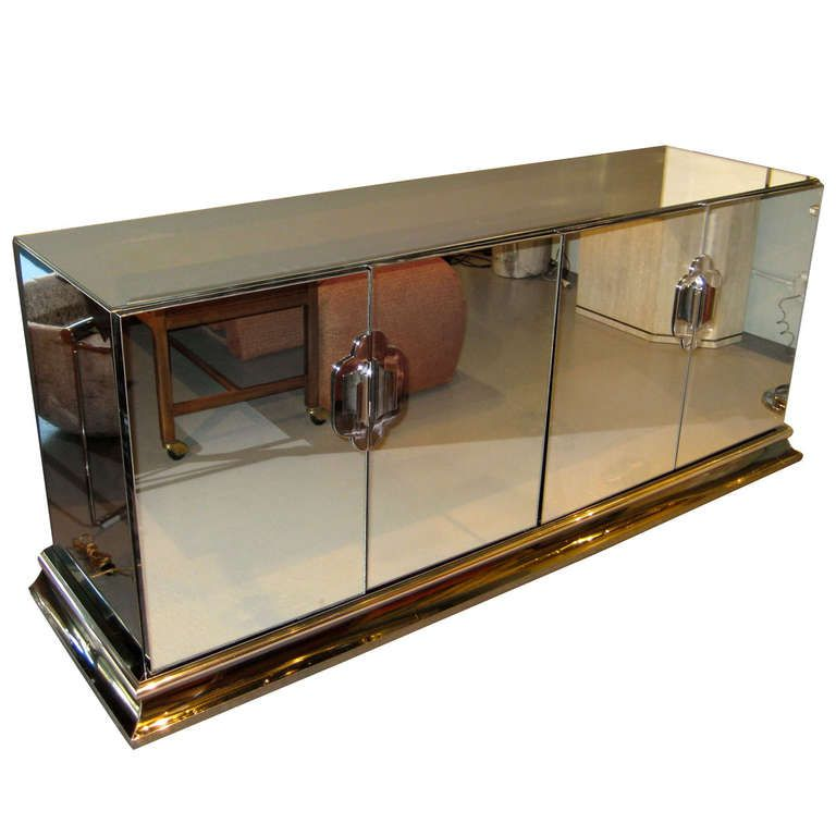 A Chrome And Mirrored 4 Door Credenza By Ello C. 1970u0027s | 1stdibs.com