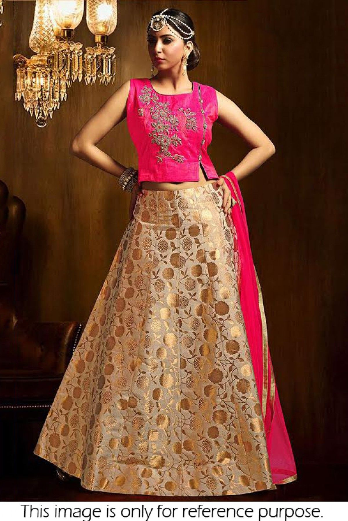 3230888bd Beige Colour Georgette Brocade Fabric Party Wear Lehenga Choli Comes with  matching blouse. This Lehenga Choli Is crafted with Embroidery This Lehenga  Choli ...