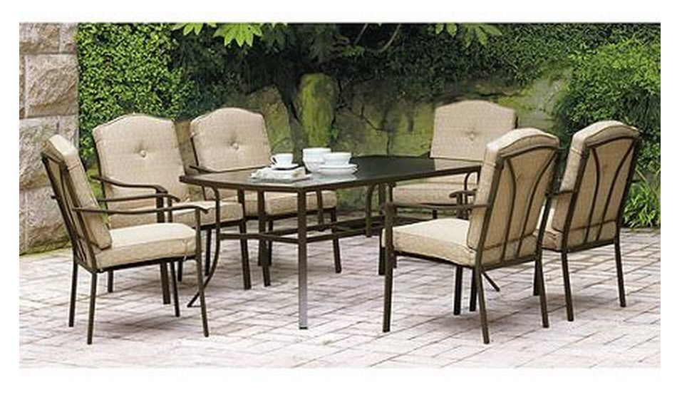 Patio Furniture Dining Set 7 Piece Outdoor Deck Pool Glass Table 6 Chairs  Tan - Patio Furniture Dining Set 7 Piece Outdoor Deck Pool Glass Table 6