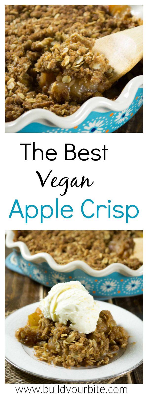 The BEST Vegan Apple Crisp Recipe - I can't get enough of this! #applerecipes