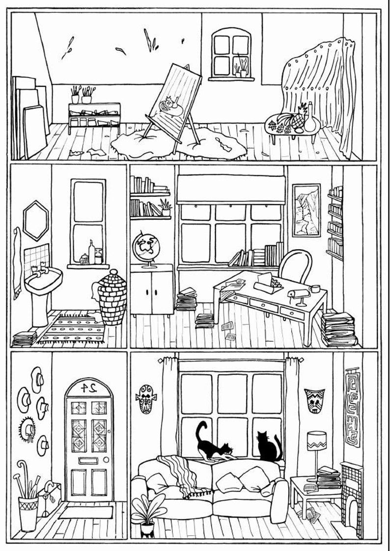 Bundle Of 4 Colouring Pages House Interiors Instant Etsy In 2021 Colouring Pages House Colouring Pages Coloring Pages