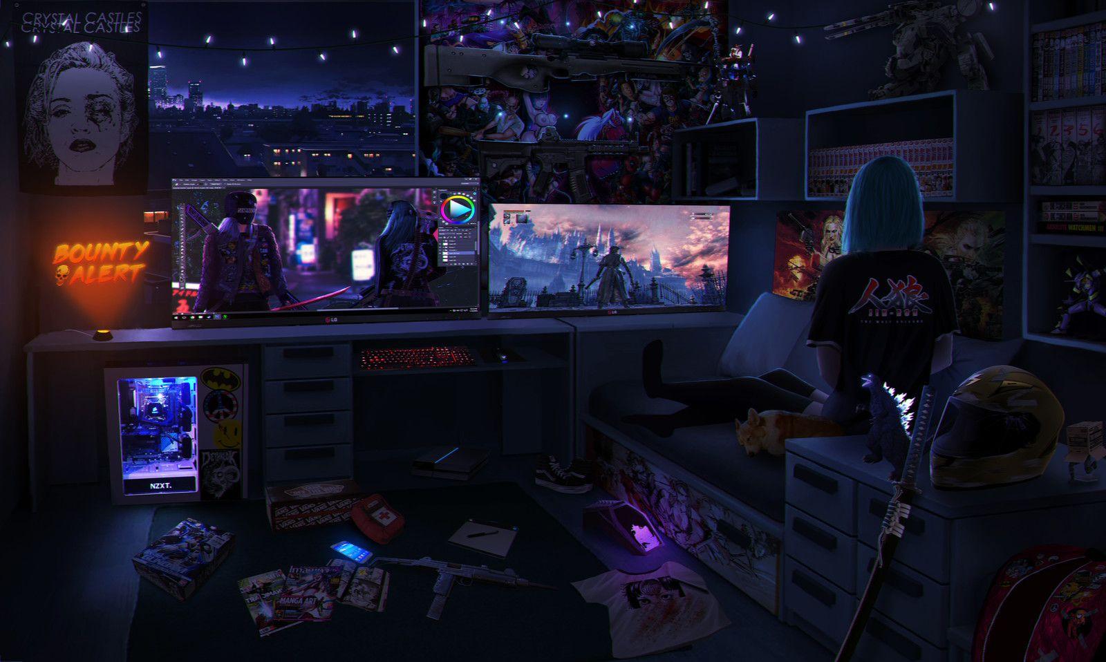 Character Room Design Nishio On Artstation At Https Www Artstation Com Artwork Akwnn In 2020 Cyberpunk Aesthetic Cyberpunk Cyberpunk Art