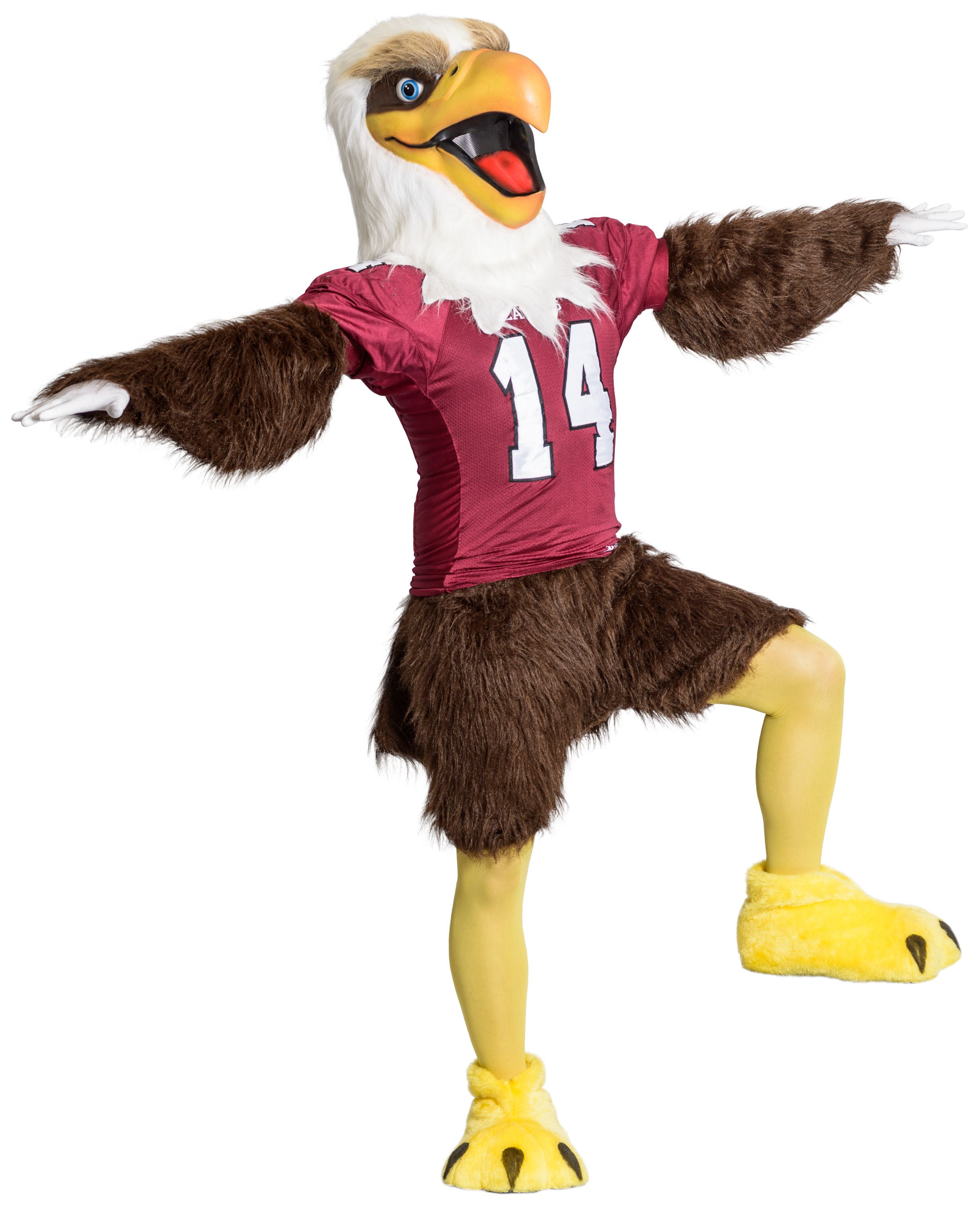 The Mascot For Chadron State College Is Elmo The Eagle Since The Early 1980s Elmo Has Entertained Fans At Sporting Events Eagle Mascot Mascot Costumes Mascot