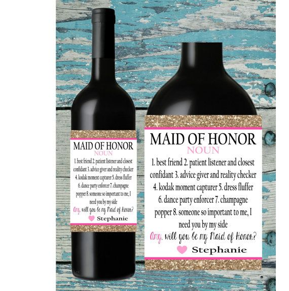 Maid of Honor Wine Label. Will you be my by Icingtopsthecake