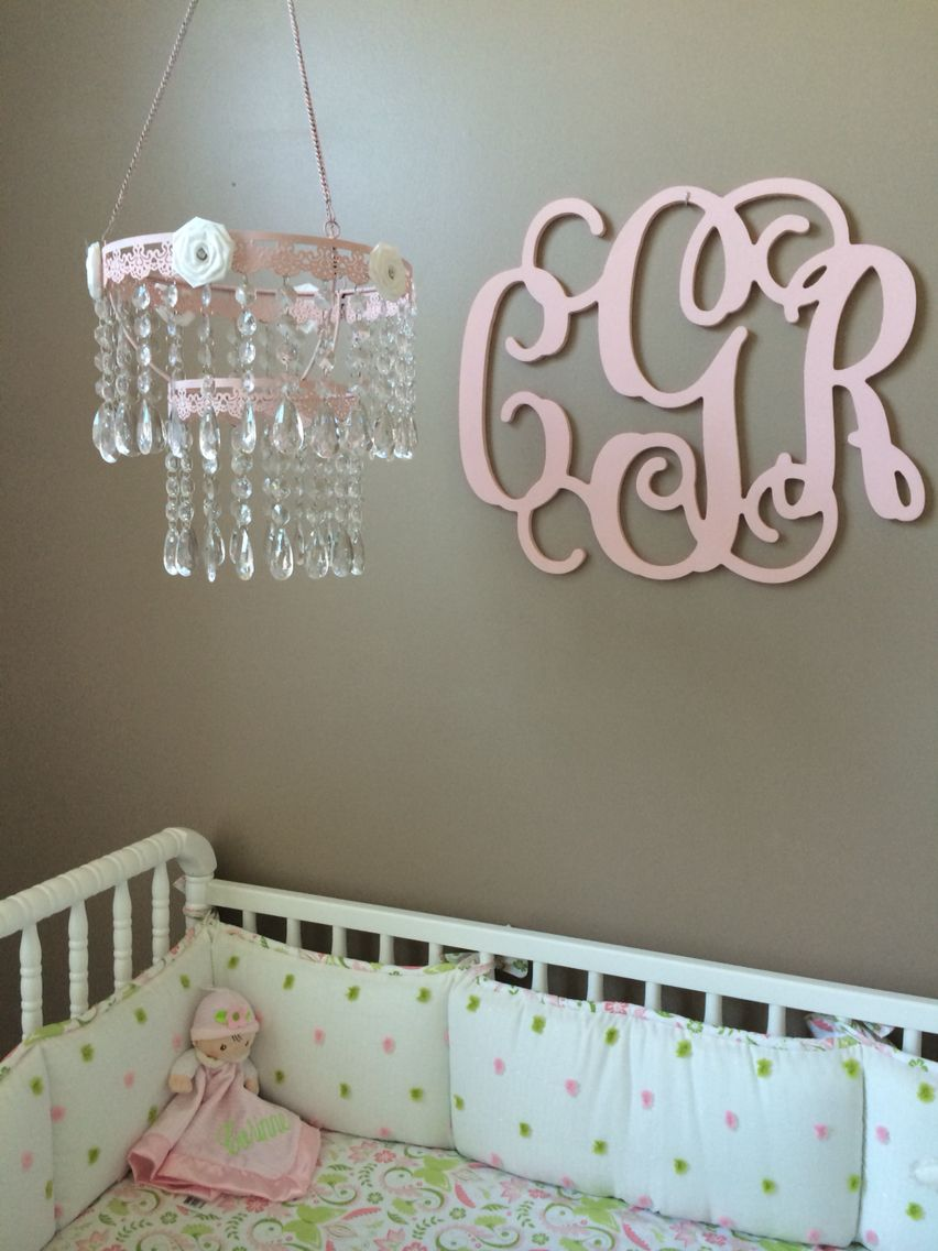 Crystal chandelier mobile and wooden monogram above crib corinnes crystal chandelier mobile and wooden monogram above crib arubaitofo Gallery