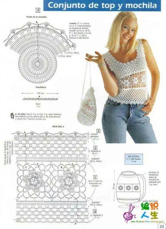 Top y mochila | Patrones en tejido crochet fotos y diagramas ...