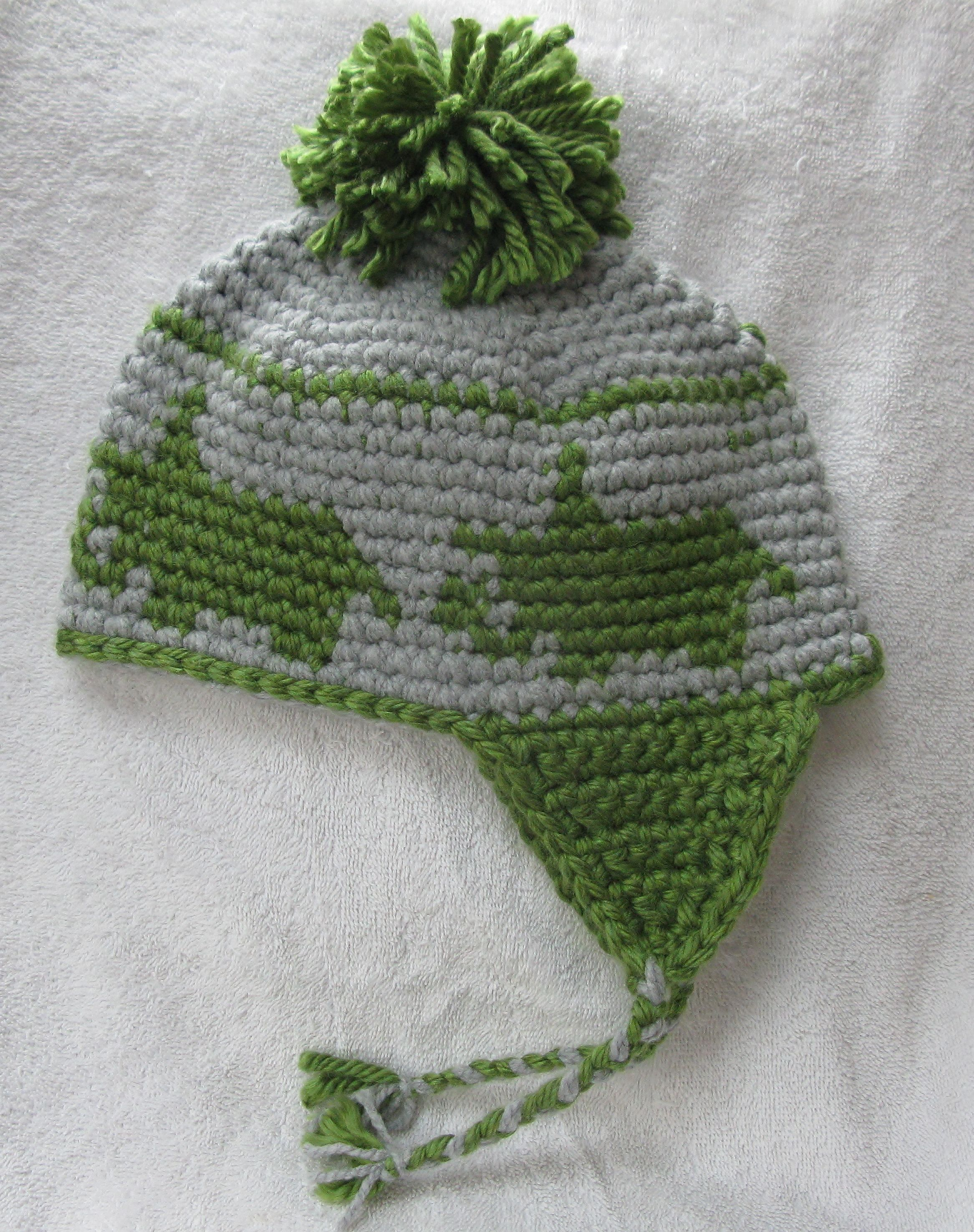 Tapestry Crochet Hat with pattern of Dinosaur Triceratops | Tapestry ...