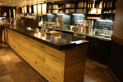 Starbucks Front Line With Wood Front Restaurant N Cafe S