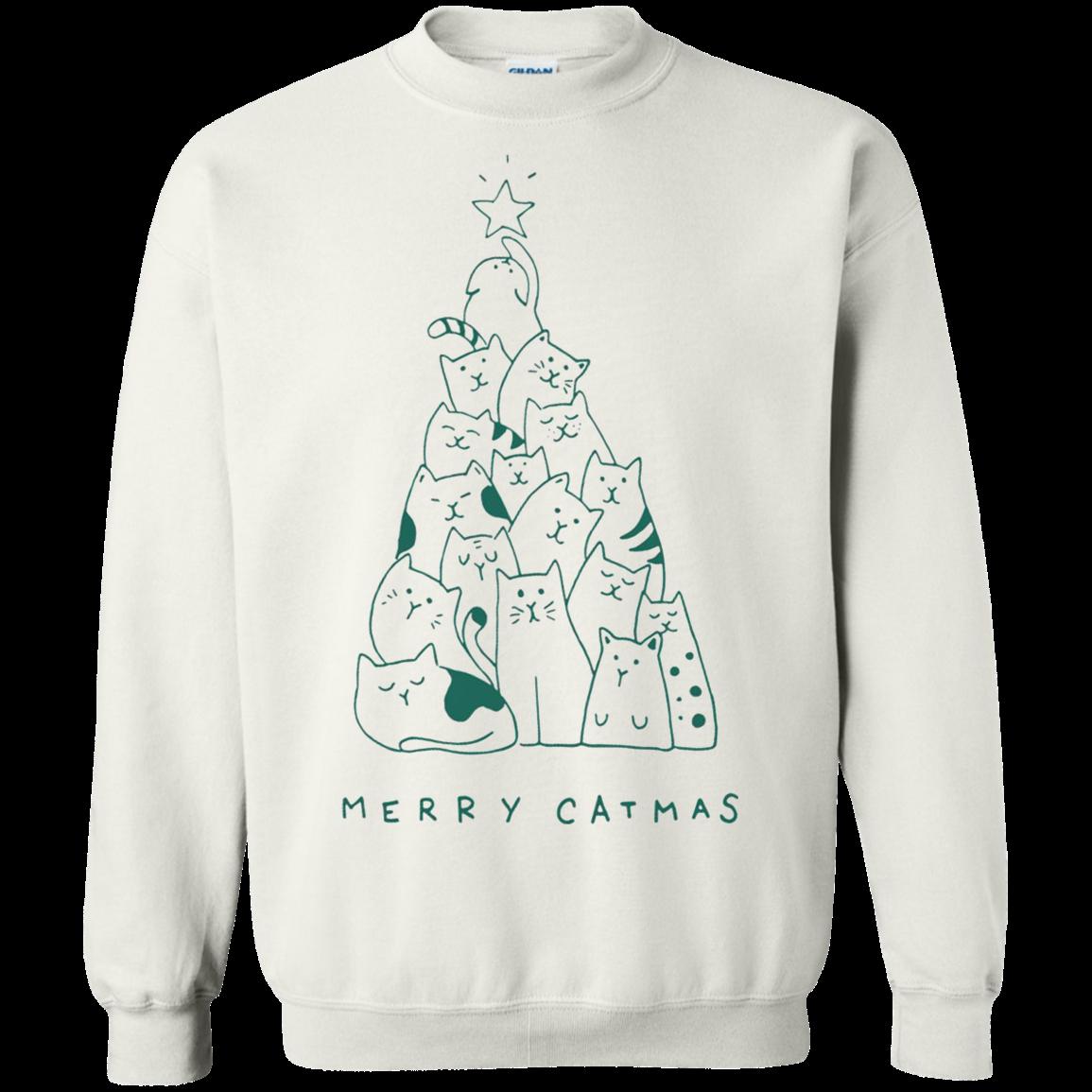 54ea25c46637a9 Merry Catmas Sweater - White - Shipping Worldwide - NINONINE