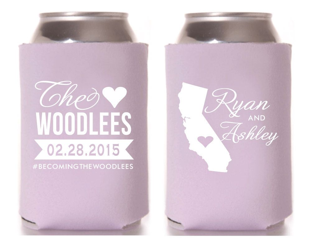 Personalized Can Cooler, Wedding Favors, Wedding Can Cooler, Custom ...