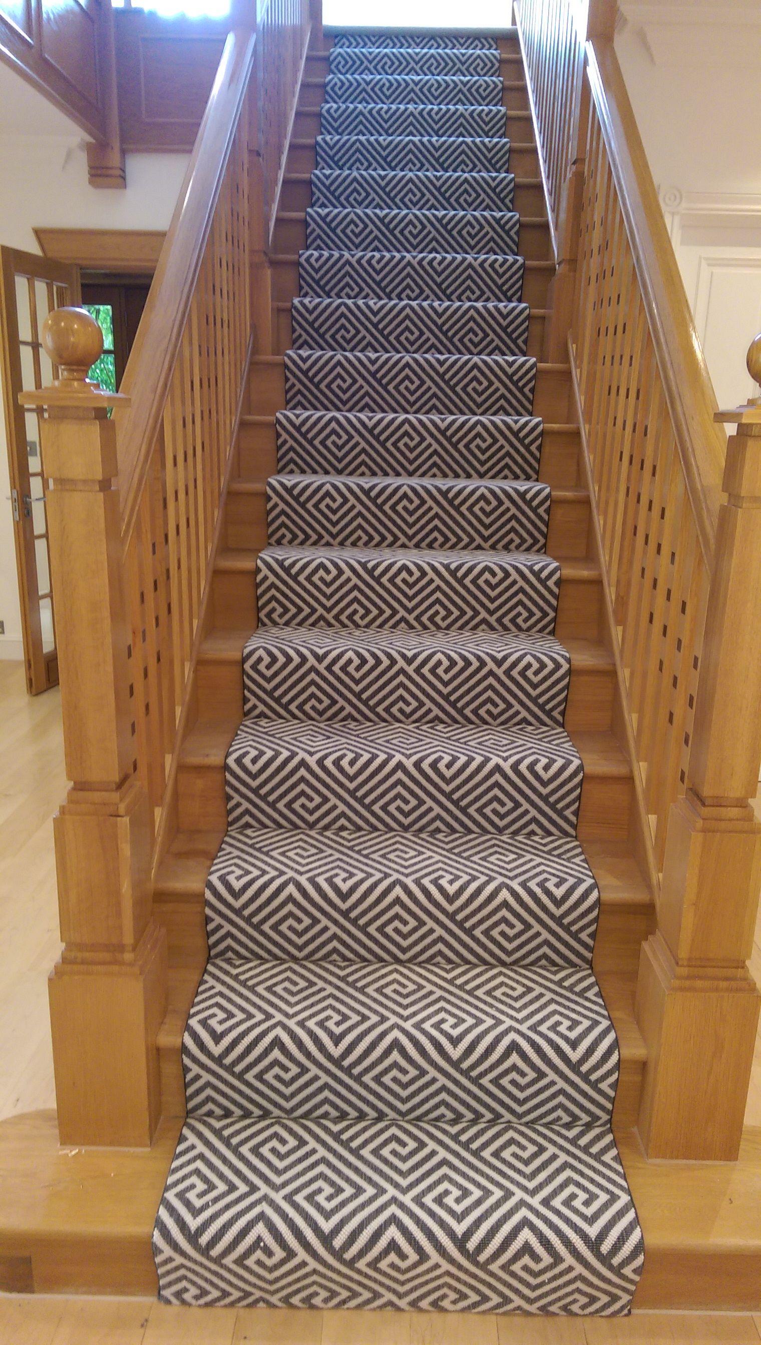 Geometric Grey White Stair Runner By B R Carpet Company Geo Grey White Runner Stairs Bandrcarpet Stair Runner Carpet Companies Stairs