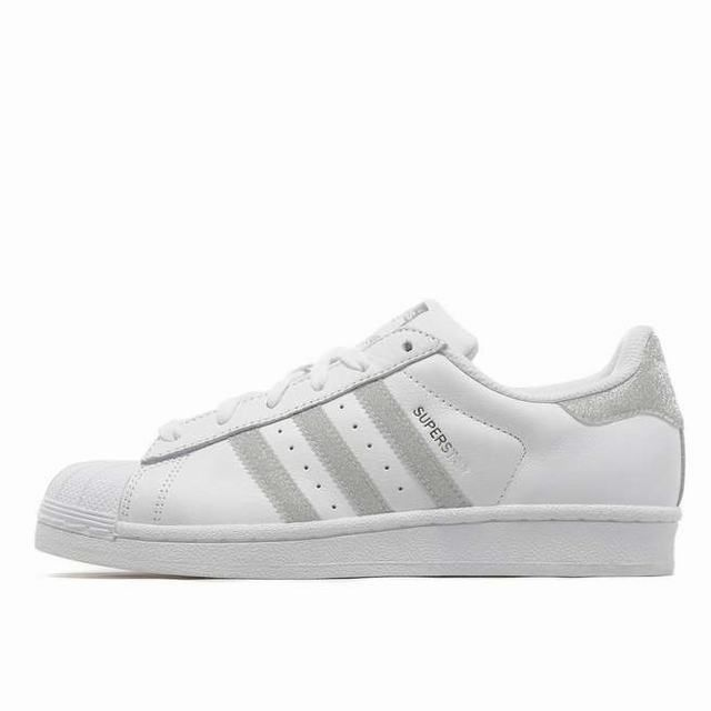 new arrivals 75c28 a1521 Unisex Adidas Superstar Glitter Stripes White Silver Trainers