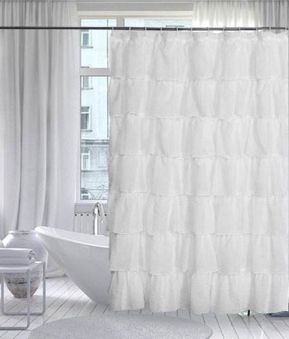 Open Up Even Small Bathrooms With A White Detailed Shower Curtain