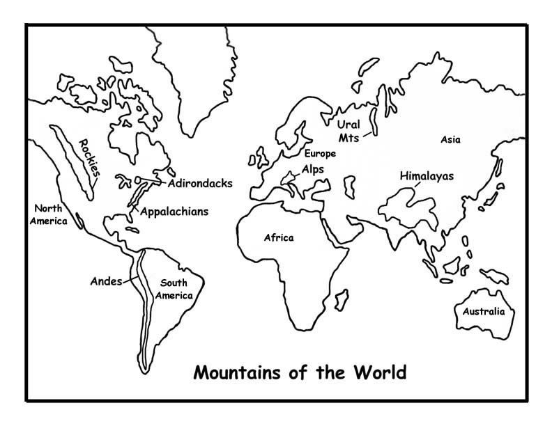 Mountains Of The World Map World Map Coloring Page World Map