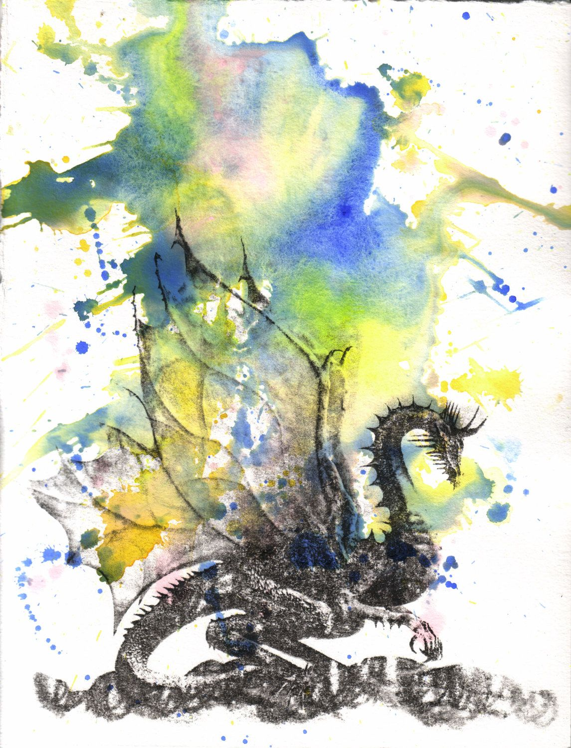 Mythical Dragon Watercolor Painting - Original Watercolor Painting ...