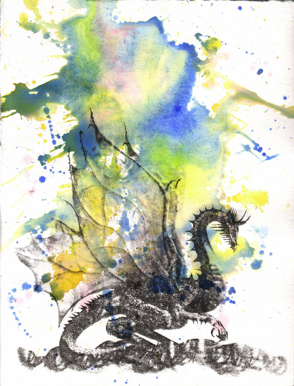Mythical Dragon Watercolor Painting Original by idillard ... - photo#3