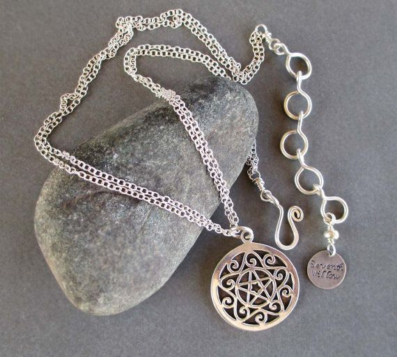 Sterling silver pentacle necklace wiccan jewelry pentagram pendant on sale sterling silver pentacle necklace wiccan jewelry pentagram pendant sterling silver chain necklace equinox solstice jewelry aloadofball Images