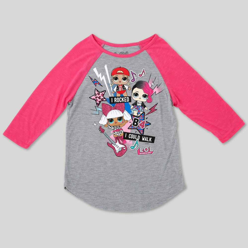 731f9b892 Girls' L.O.L. Surprise! Glee Dolls Graphic 3/4 Sleeve Raglan T-Shirt -  Heather Gray XS