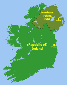 Map Of North And South Ireland.The Troubles A Map Showing The Outline Of Ireland In The Colour