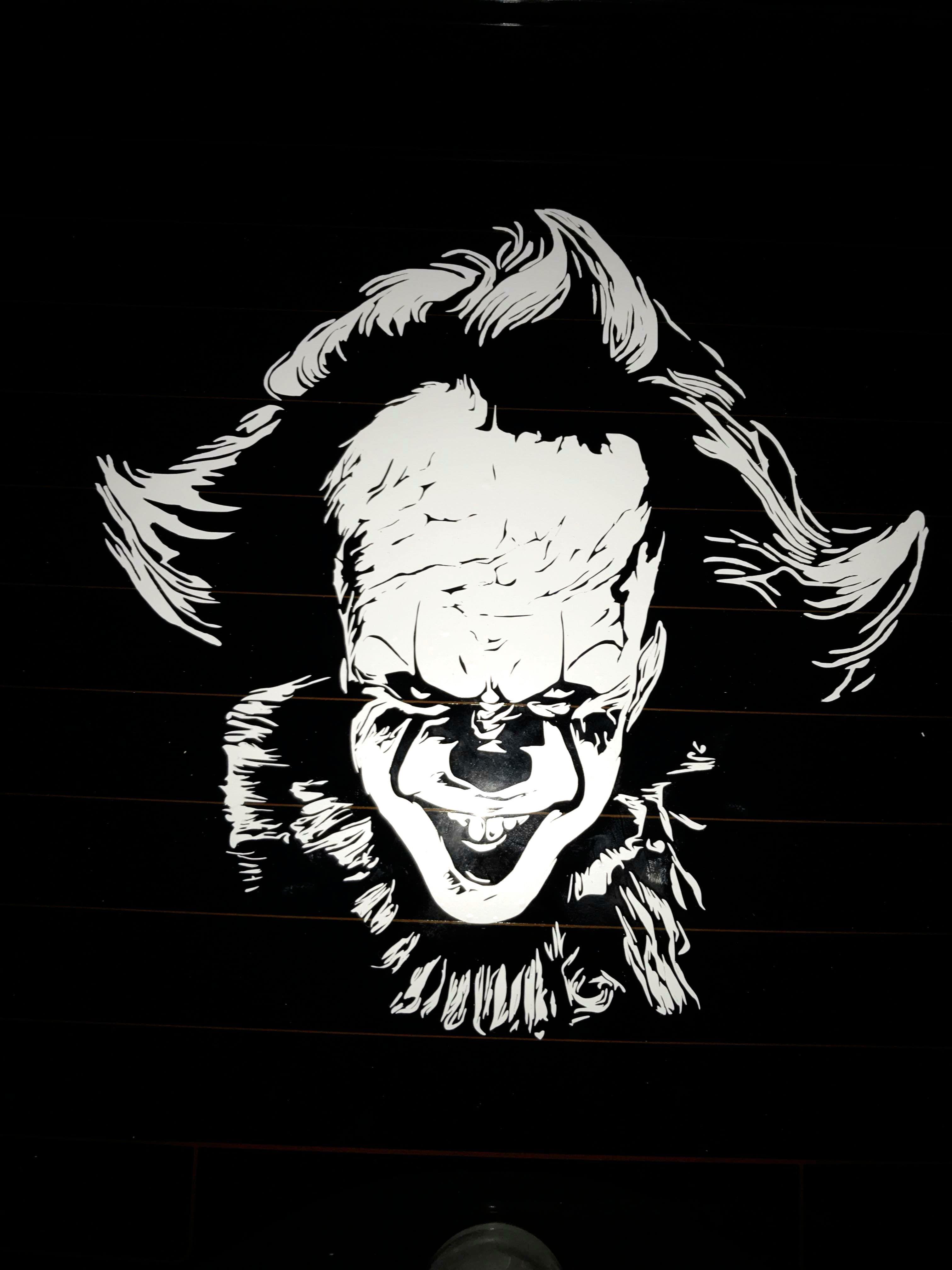Pennywise IT Clown Stephen King Car Sticker Vinyl Decal Creepy Scary Halloween